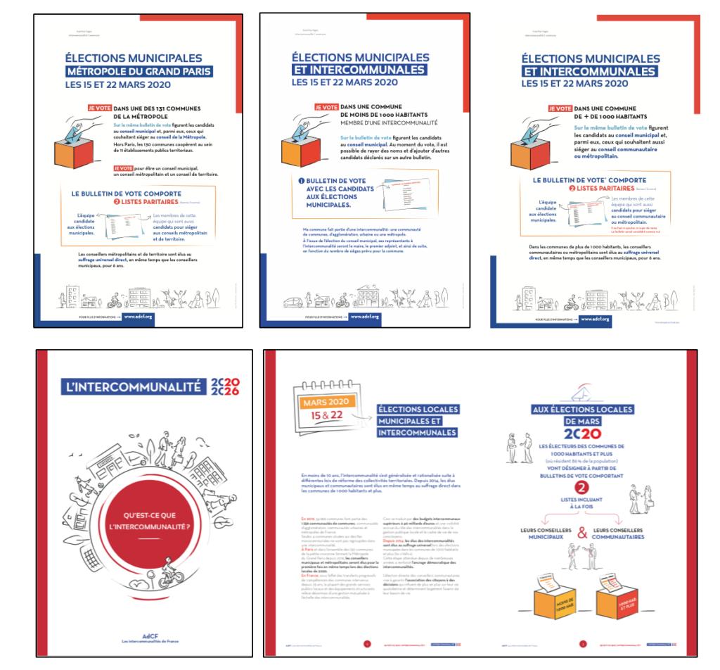 Supports de communication réalisés par Melt pour l'assemblée des intercommunalités de France, sur l'intercommunalité et les élections municipales et intercommunales.