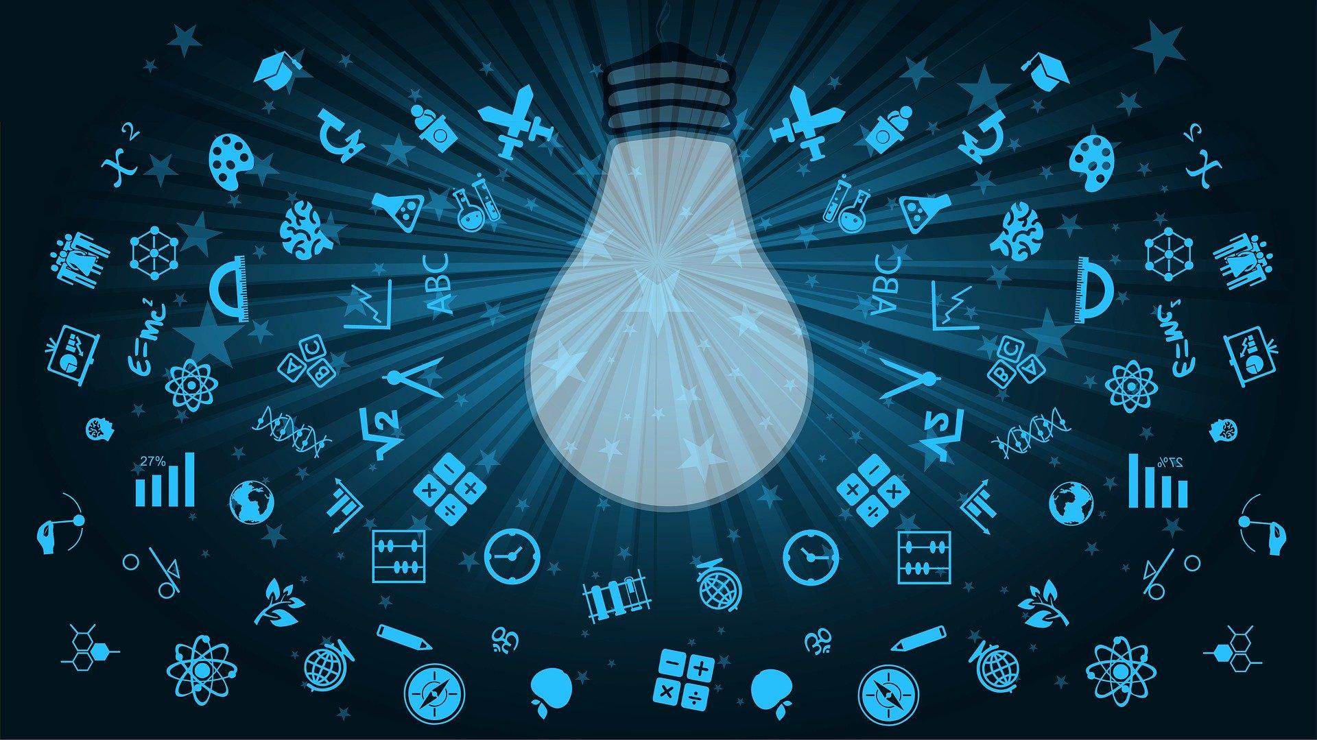 Ampoule entourée de symboles traduisant le distanciel